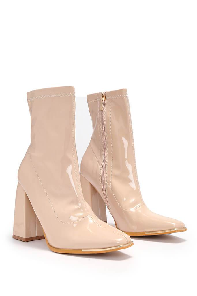 Nude High Shine Steel Cap Top Sock Boots view 4