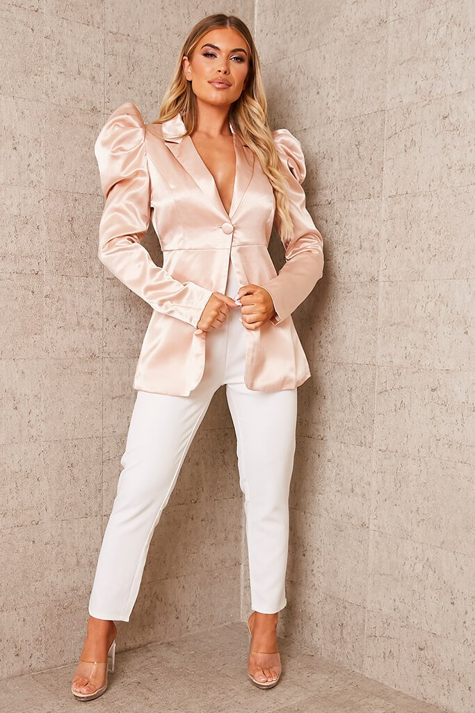 Nude Puff Sleeve Satin Blazer view 2
