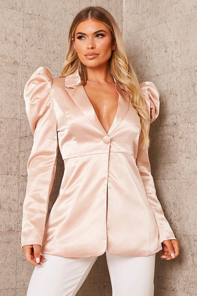 Nude Puff Sleeve Satin Blazer view main view