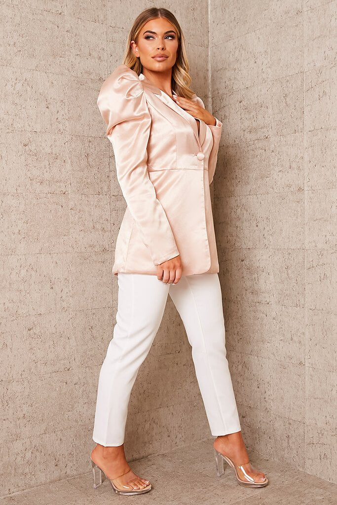 Nude Puff Sleeve Satin Blazer view 3
