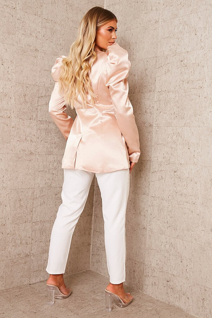 Nude Puff Sleeve Satin Blazer view 4