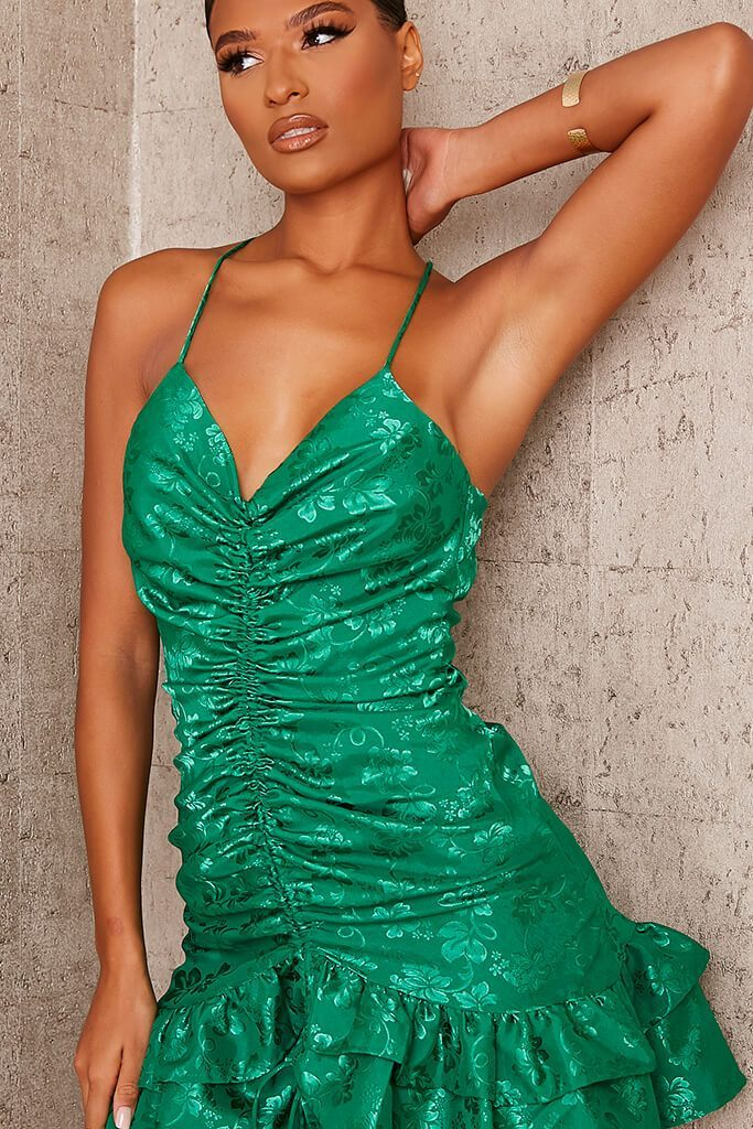 Emerald Green Premium Jaquard Satin Strappy Ruched Front Dress view 5