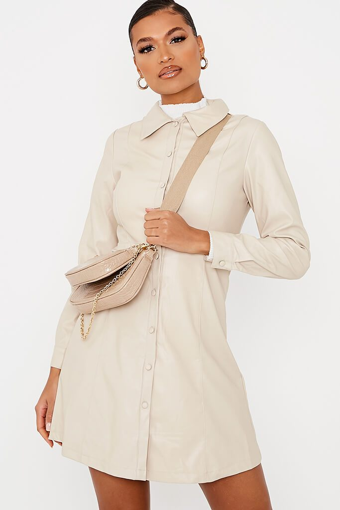 Ecru Faux Leather Shirt Dress