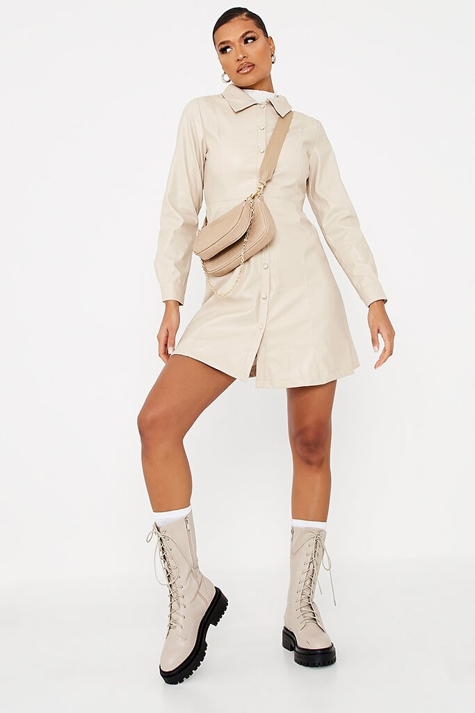 Ecru Faux Leather Shirt Dress view 2