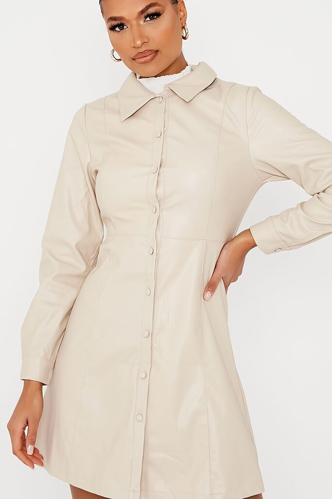 Ecru Faux Leather Shirt Dress view 5