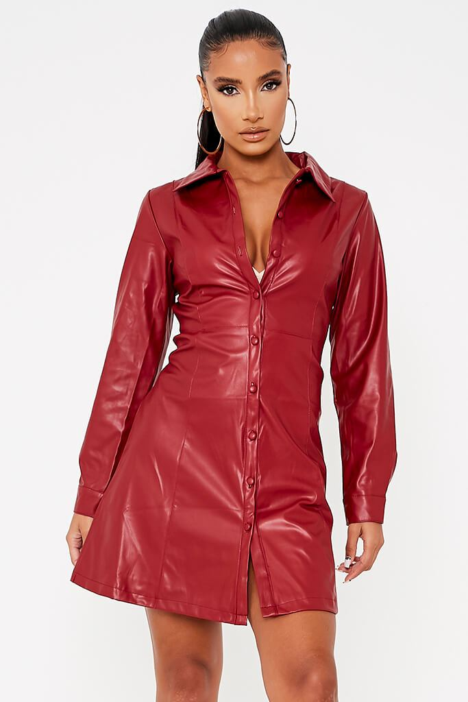 Red Faux Leather Shirt Dress