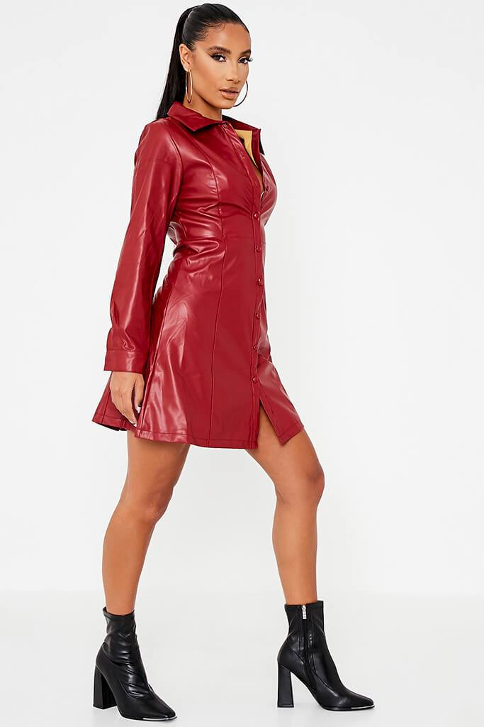 Red Faux Leather Shirt Dress view 3