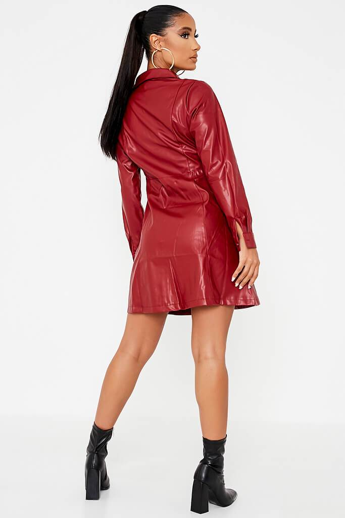 Red Faux Leather Shirt Dress view 4