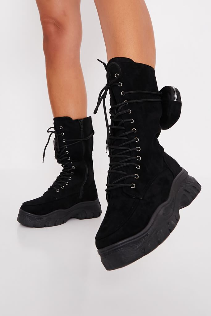 Black Faux Suede Ankle Belt Boots