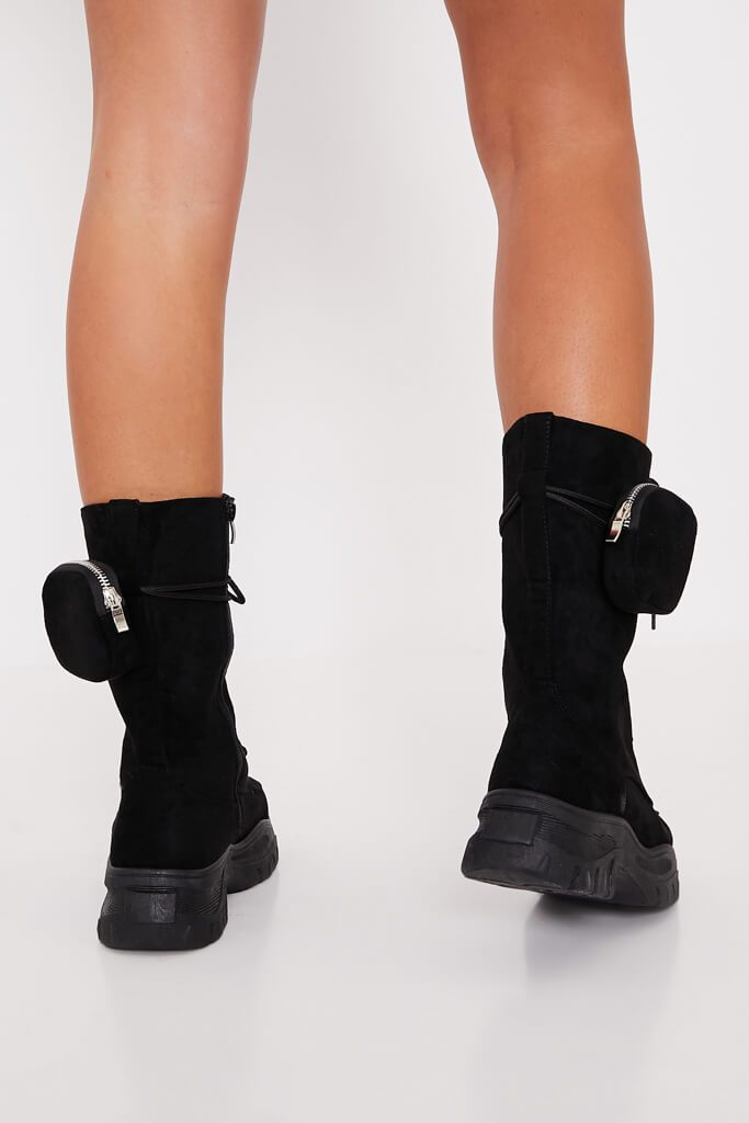 Black Faux Suede Ankle Belt Boots view 3