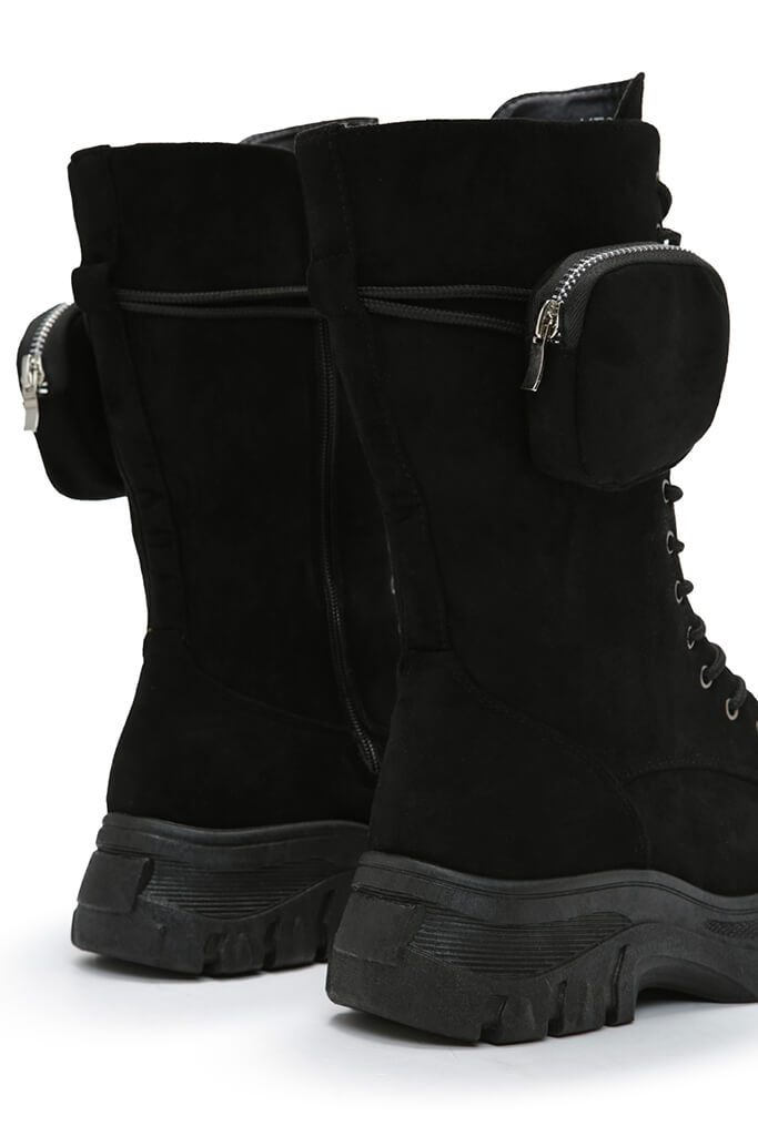 Black Faux Suede Ankle Belt Boots view 5