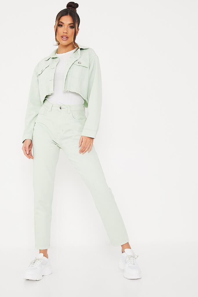 Sage Crop Denim Jacket With Frayed Hem view 2