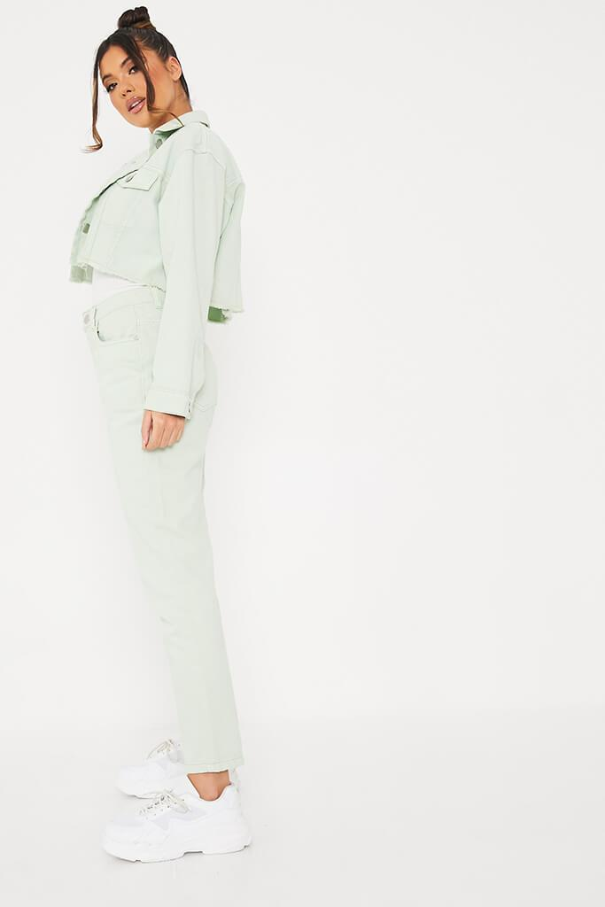 Sage Crop Denim Jacket With Frayed Hem view 3