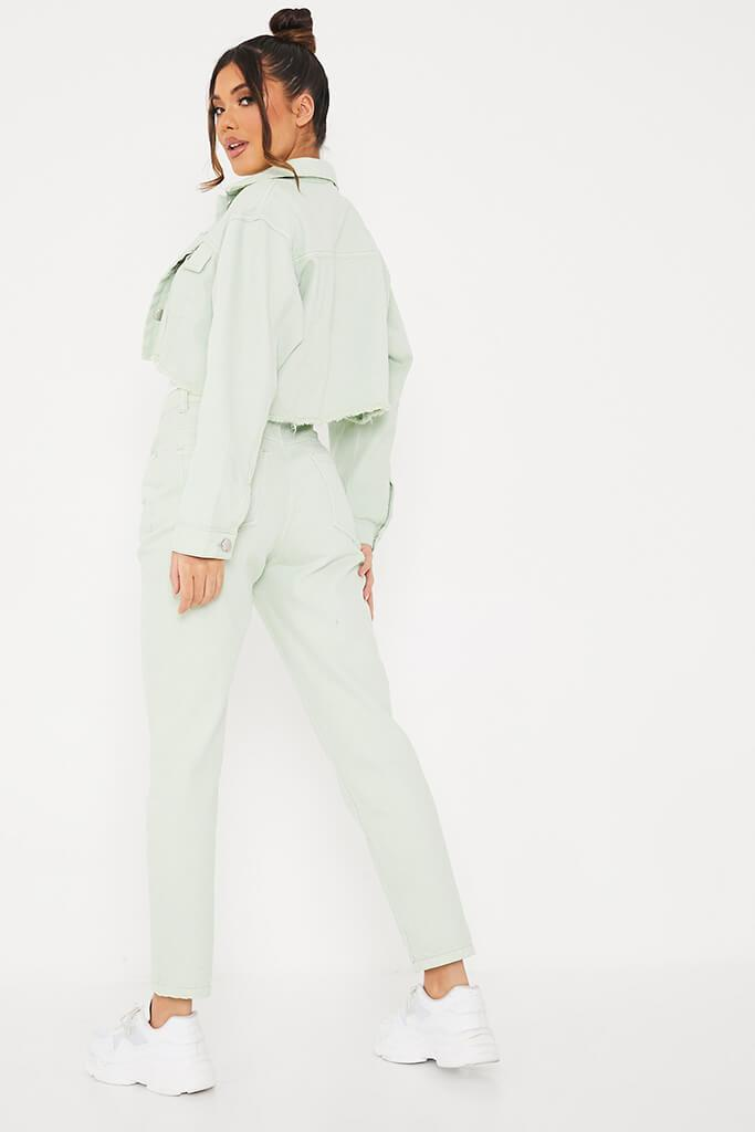 Sage Crop Denim Jacket With Frayed Hem view 4