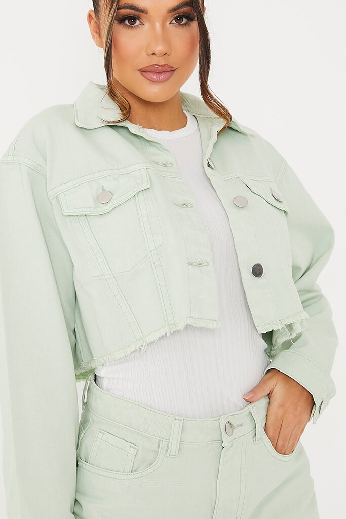 Sage Crop Denim Jacket With Frayed Hem view 5