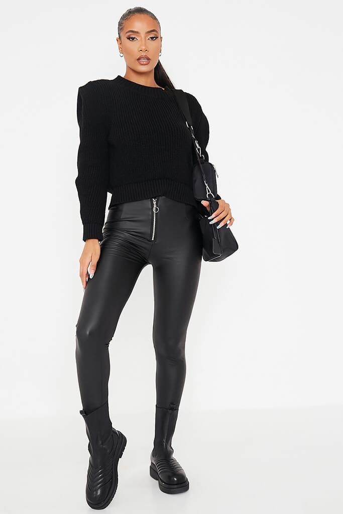 Black Faux Leather Zip Front Leggings view main view