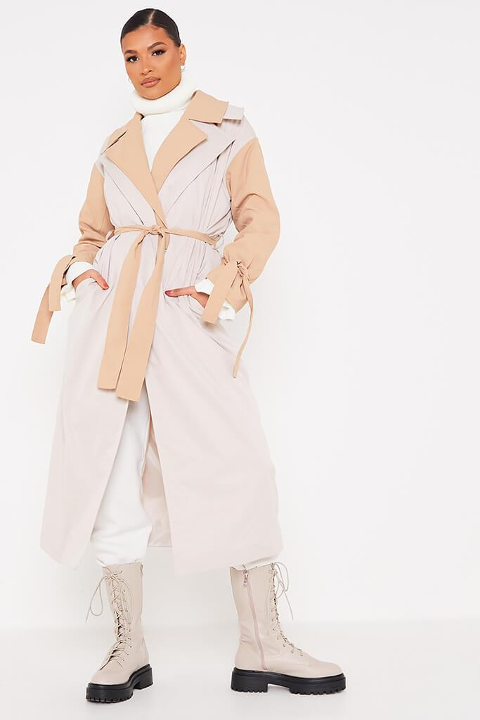 Stone Colour Block Long Line Trench With Cuff Ties view 3