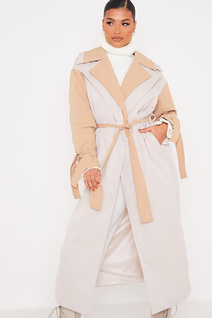 Stone Colour Block Long Line Trench With Cuff Ties view 2