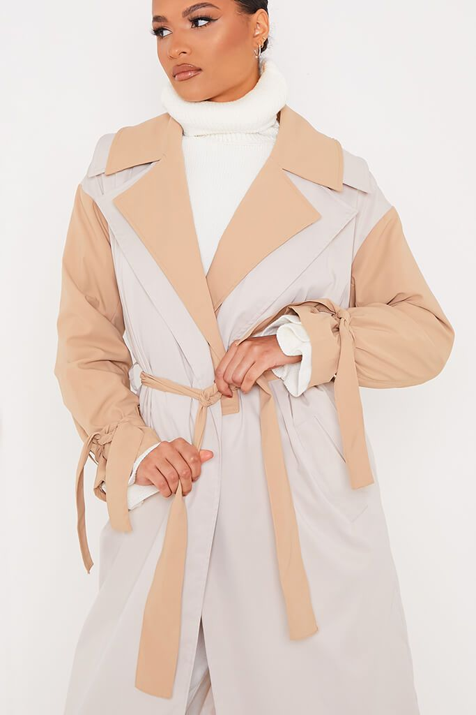 Stone Colour Block Long Line Trench With Cuff Ties view 5