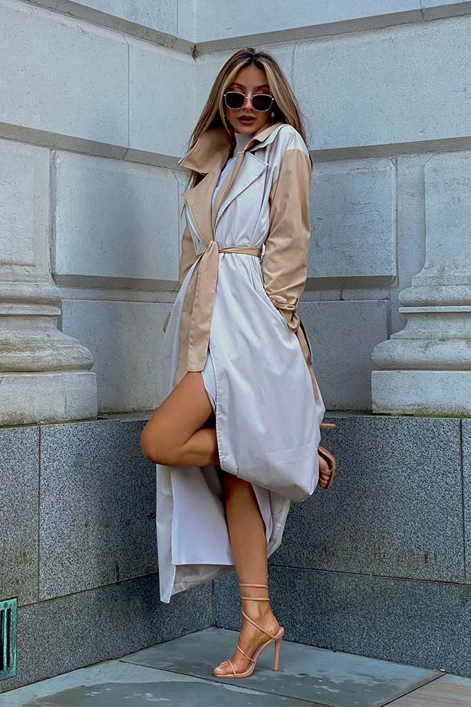 Stone Colour Block Long Line Trench With Cuff Ties