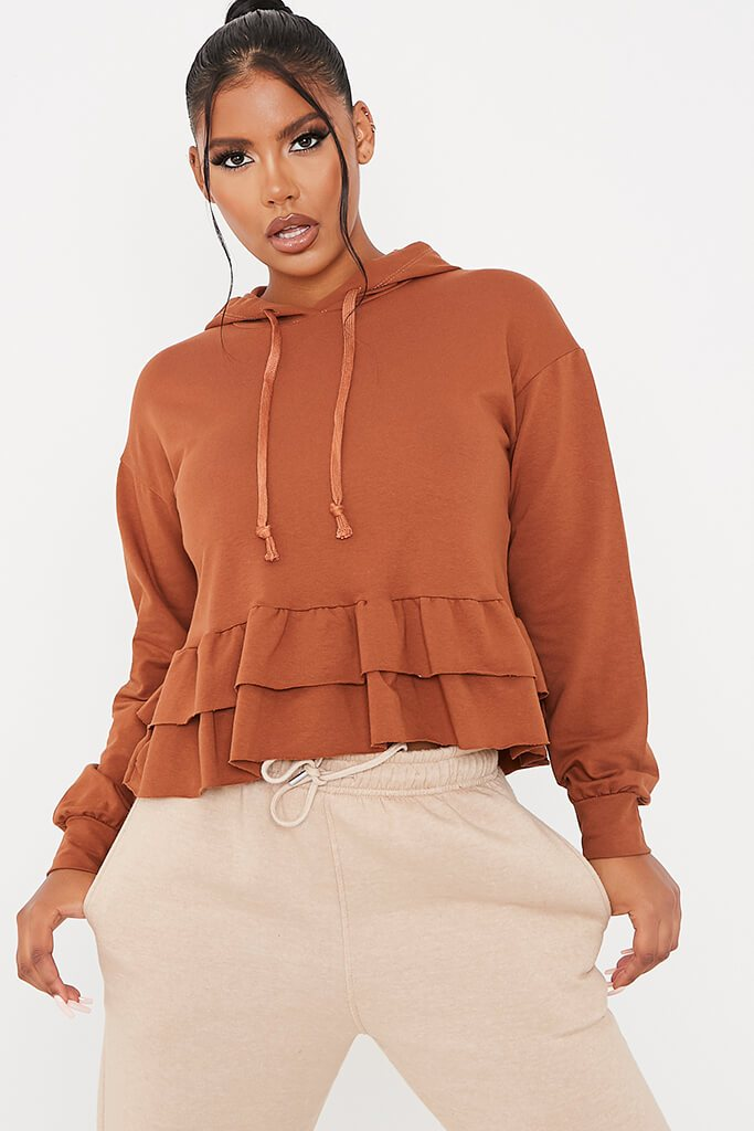 Camel Frill Detail Hoodie