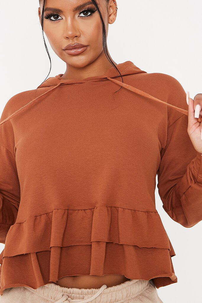 Camel Frill Detail Hoodie view 5