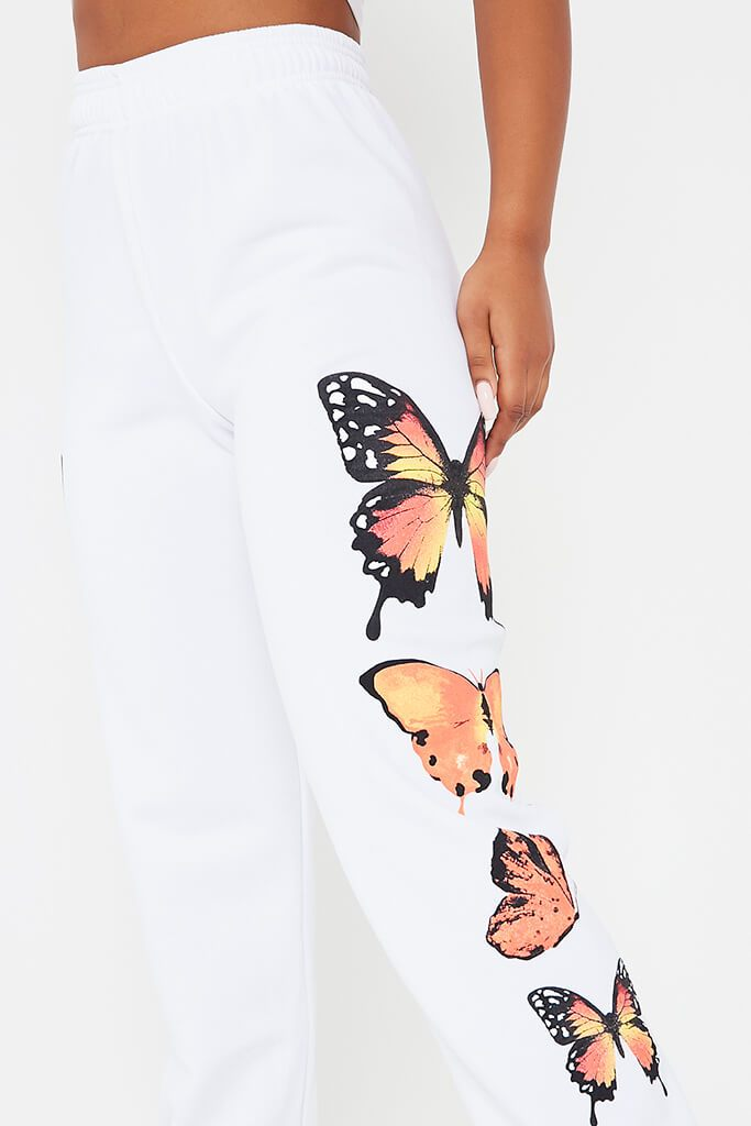 White Butterfly Printed Joggers view 5