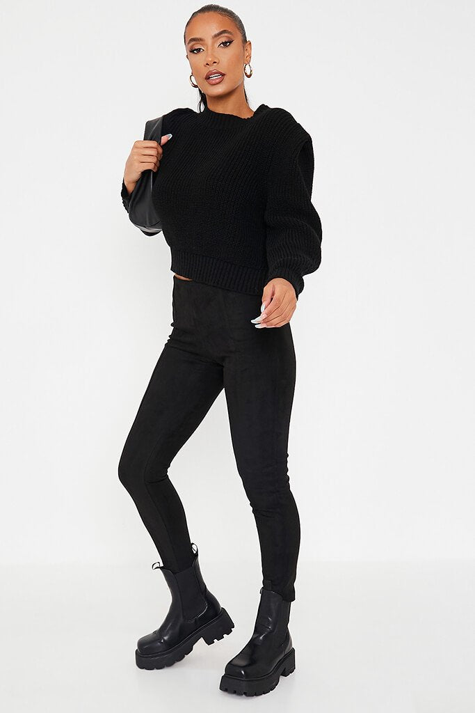 Black Faux Suede Pin Tuck Leggings view main view