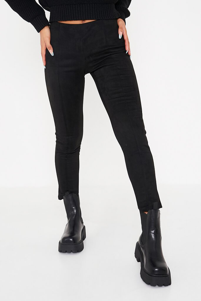Black Faux Suede Pin Tuck Leggings view 2