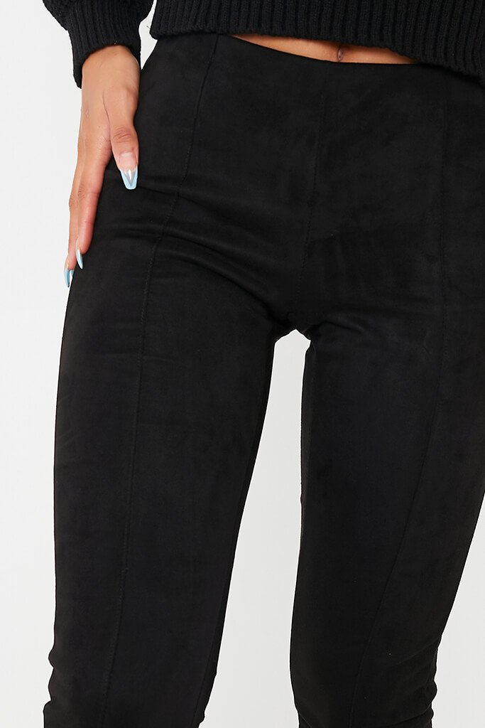 Black Faux Suede Pin Tuck Leggings view 5
