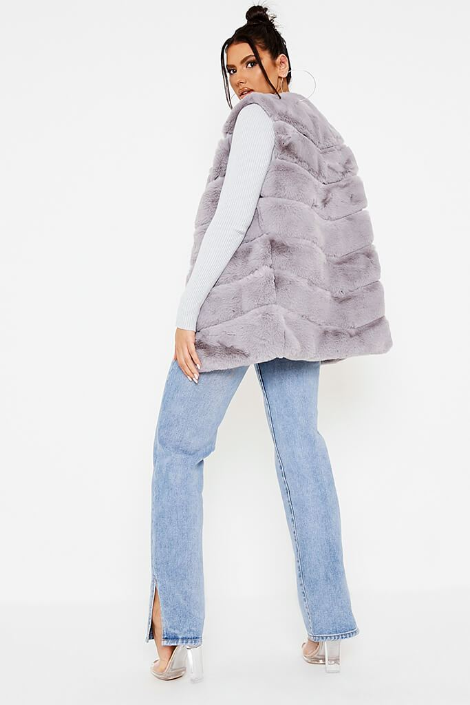 Grey Faux Fur Gilet view 4