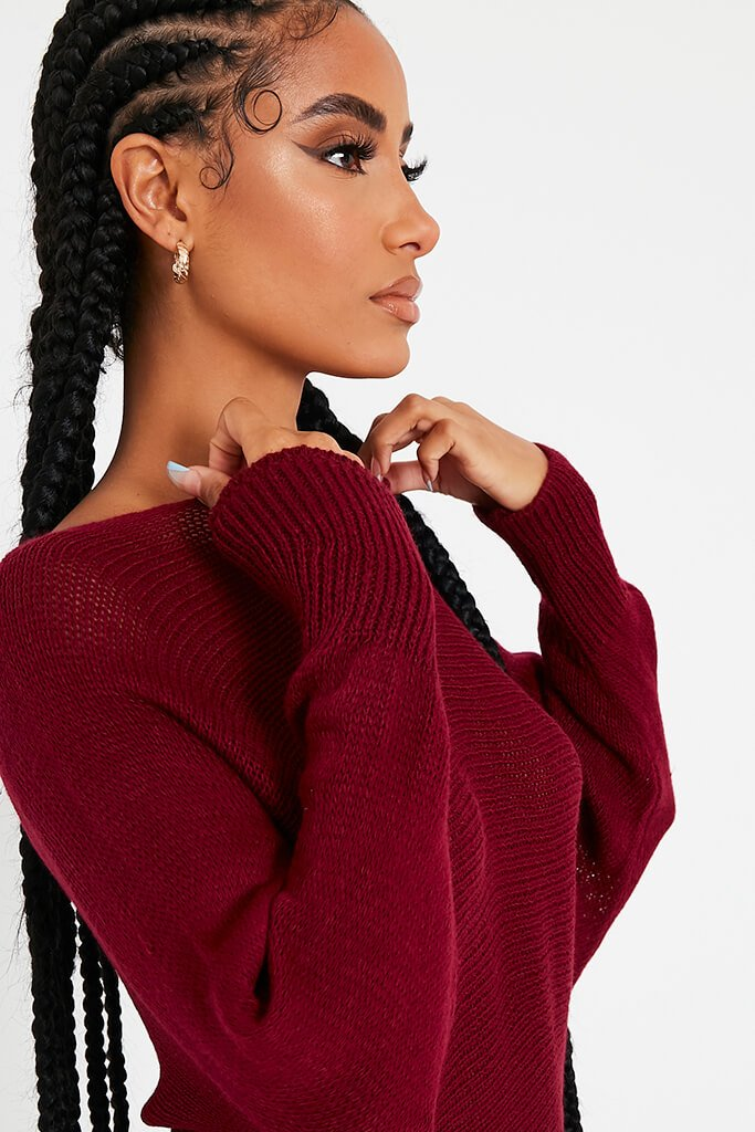 Wine Fine Knit Slash Neck Jumper view 5