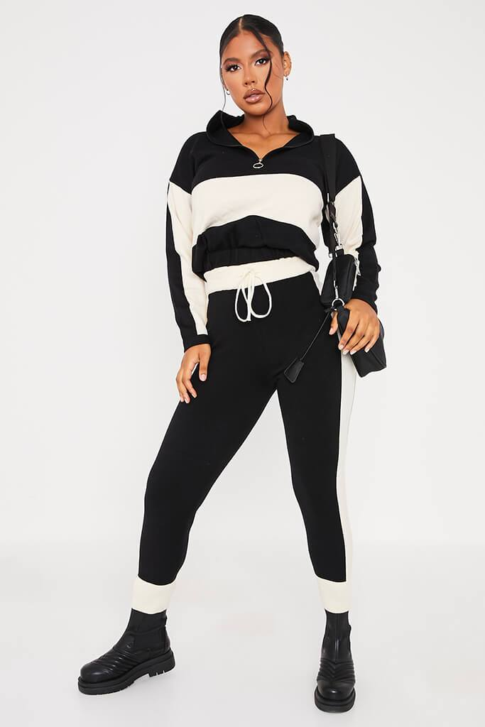 Black & White Half Zip Knitted Jumper With Colour Block view 2