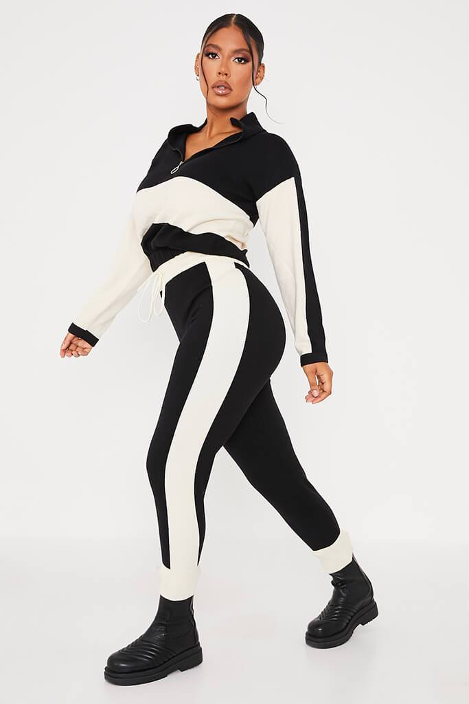 Black & White Half Zip Knitted Jumper With Colour Block view 3