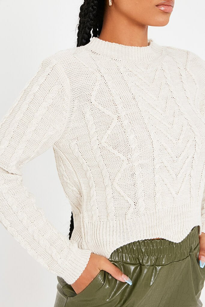 Stone Cable Knit Crew Neck Jumper view 5