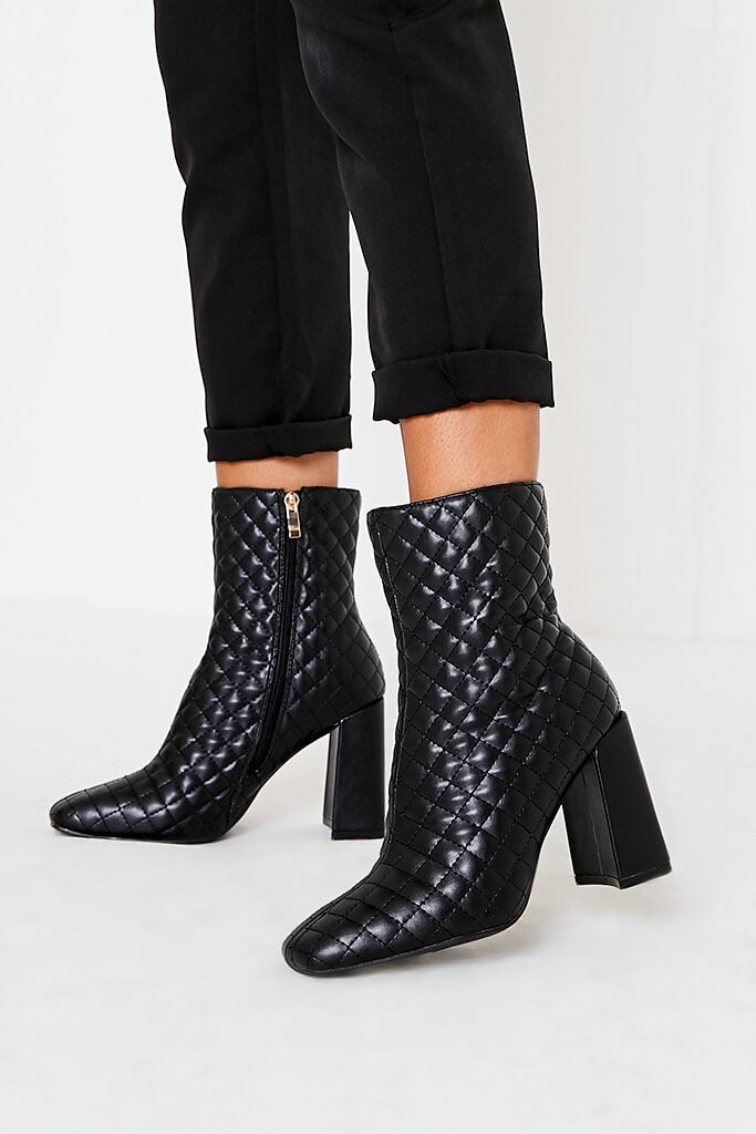 Black Quilted Faux Leather Block Heel Ankle Boots