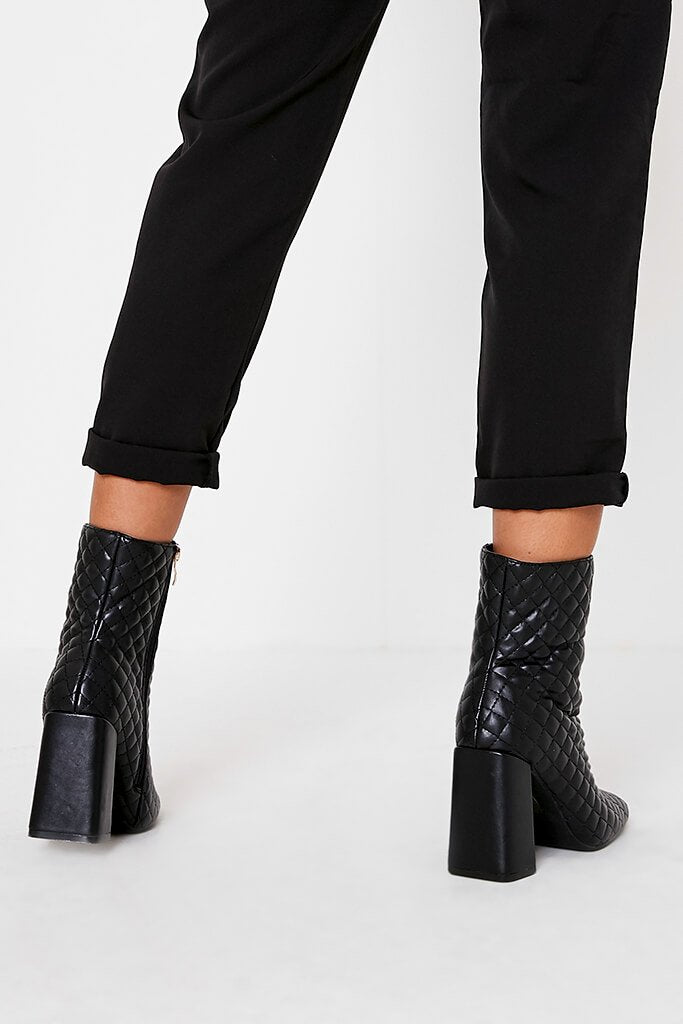 Black Quilted Faux Leather Block Heel Ankle Boots view 3