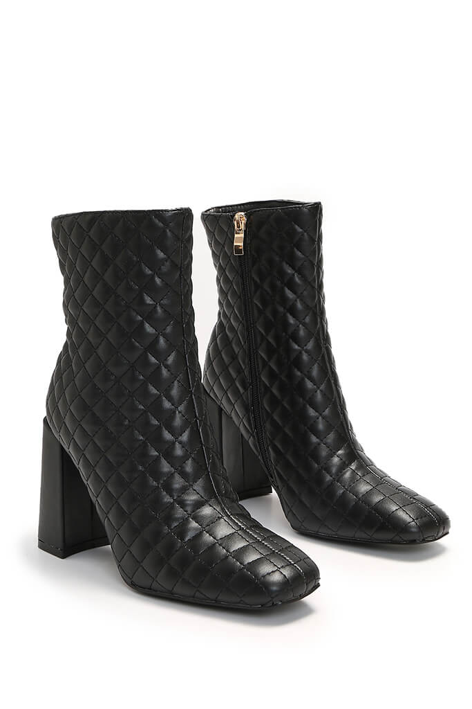 Black Quilted Faux Leather Block Heel Ankle Boots view 4