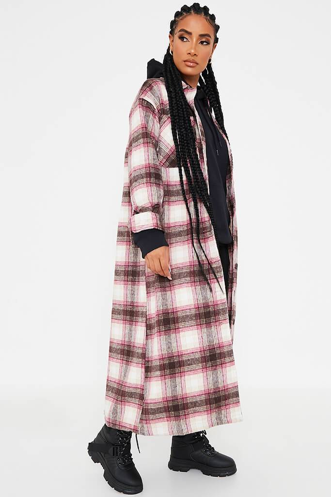 Pink Longline Check Shacket view 2