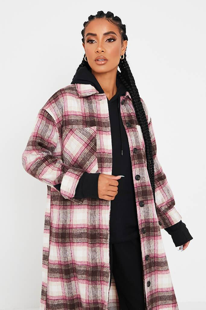 Pink Longline Check Shacket view 4