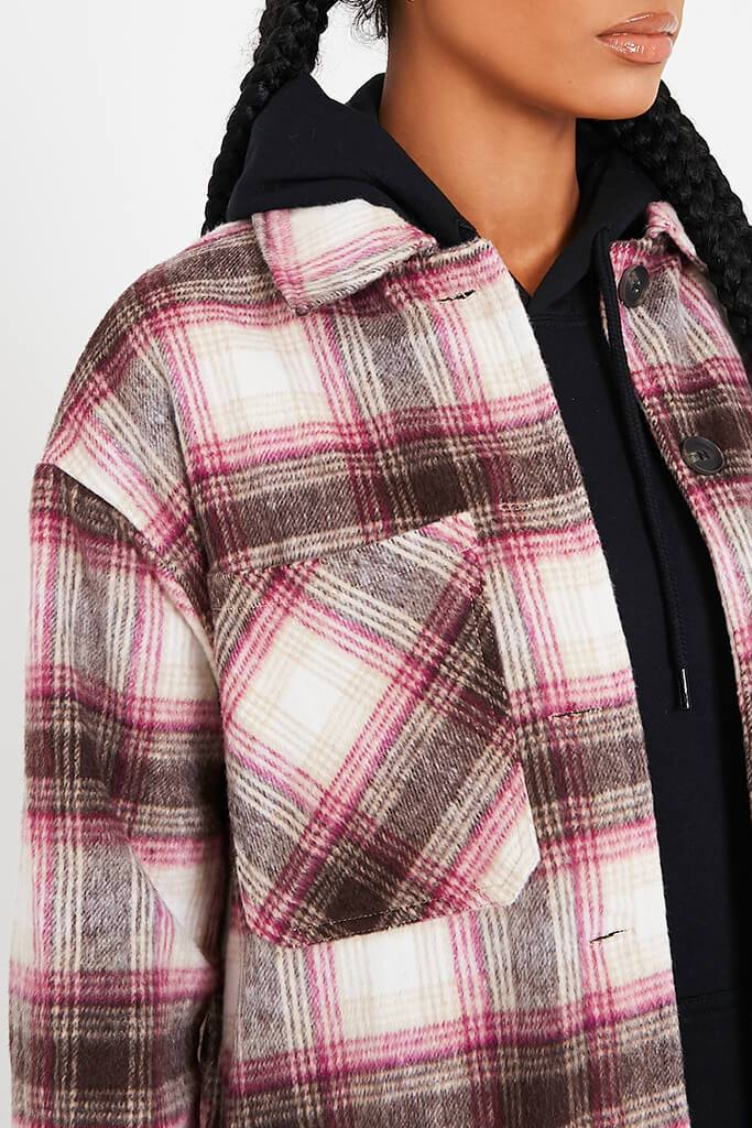 Pink Longline Check Shacket view 5