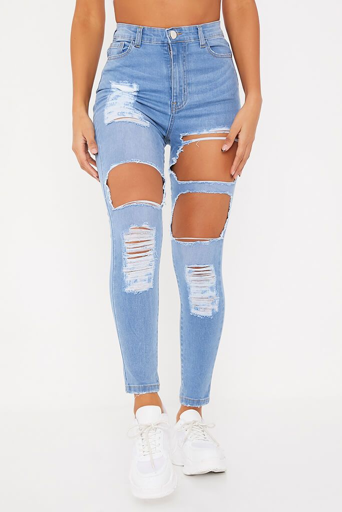 Light Wash Distressed Skinny Jeans view 2