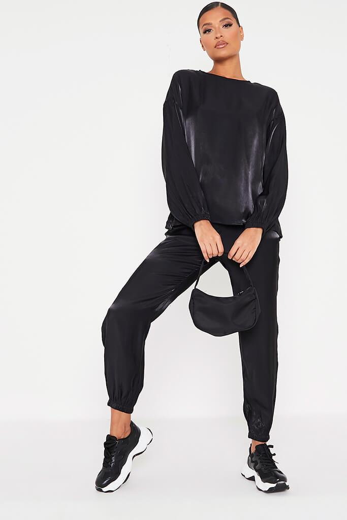 Black Satin Long Sleeve Blouse view 2