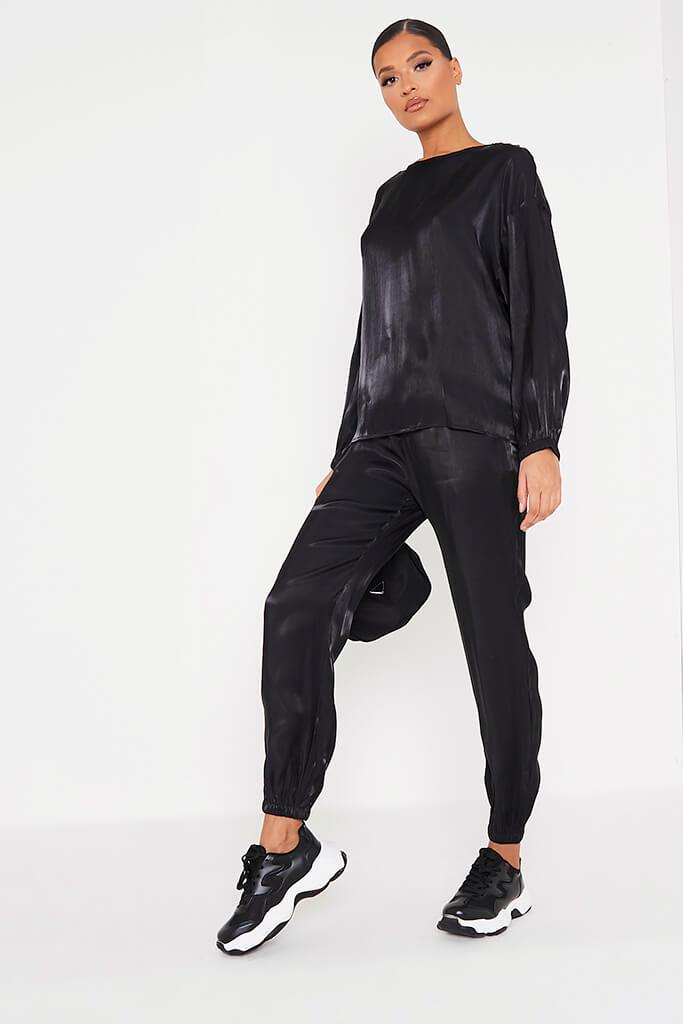 Black Satin Long Sleeve Blouse view 3