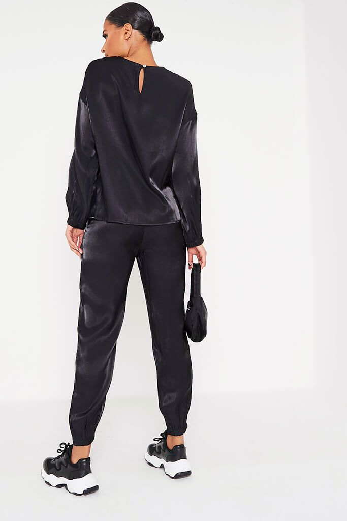 Black Satin Long Sleeve Blouse view 4