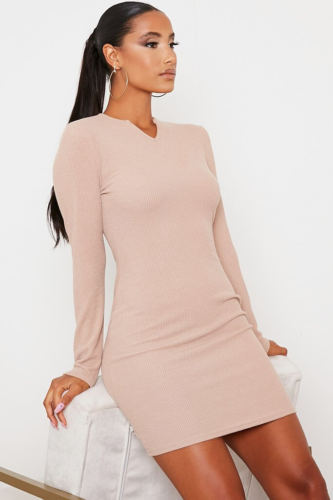 Stone Rib Knotch Front Long Sleeve Bodycon Dress