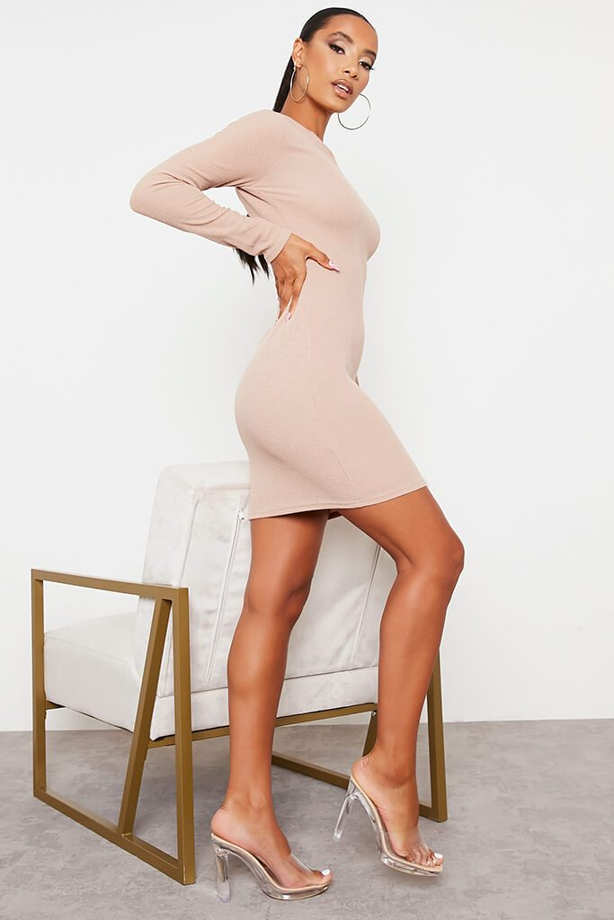Stone Rib Knotch Front Long Sleeve Bodycon Dress view 3