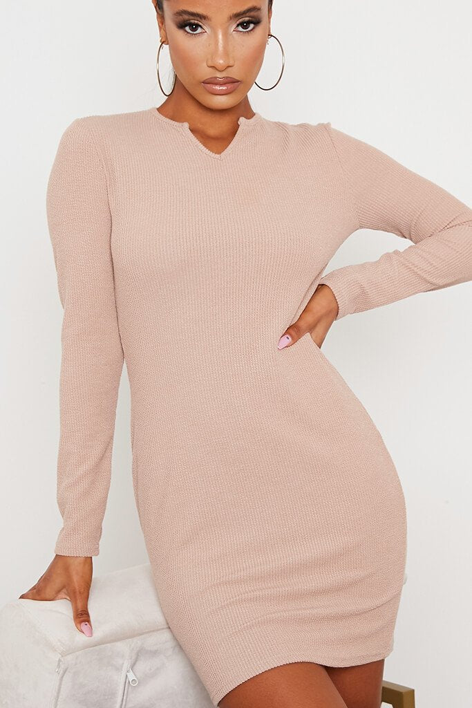 Stone Rib Knotch Front Long Sleeve Bodycon Dress view 5