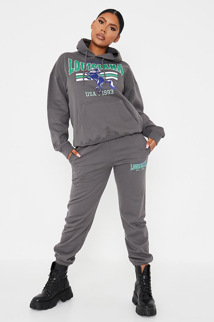 Charcoal Louisiana Graphic Oversized Joggers view 3