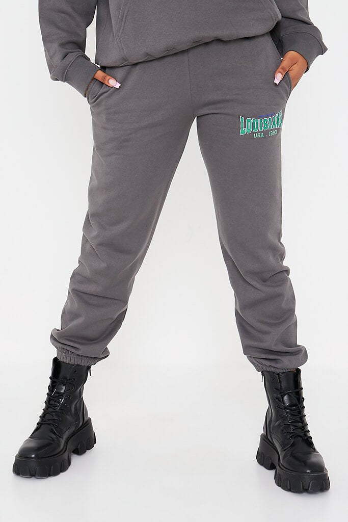 Charcoal Louisiana Graphic Oversized Joggers view 2